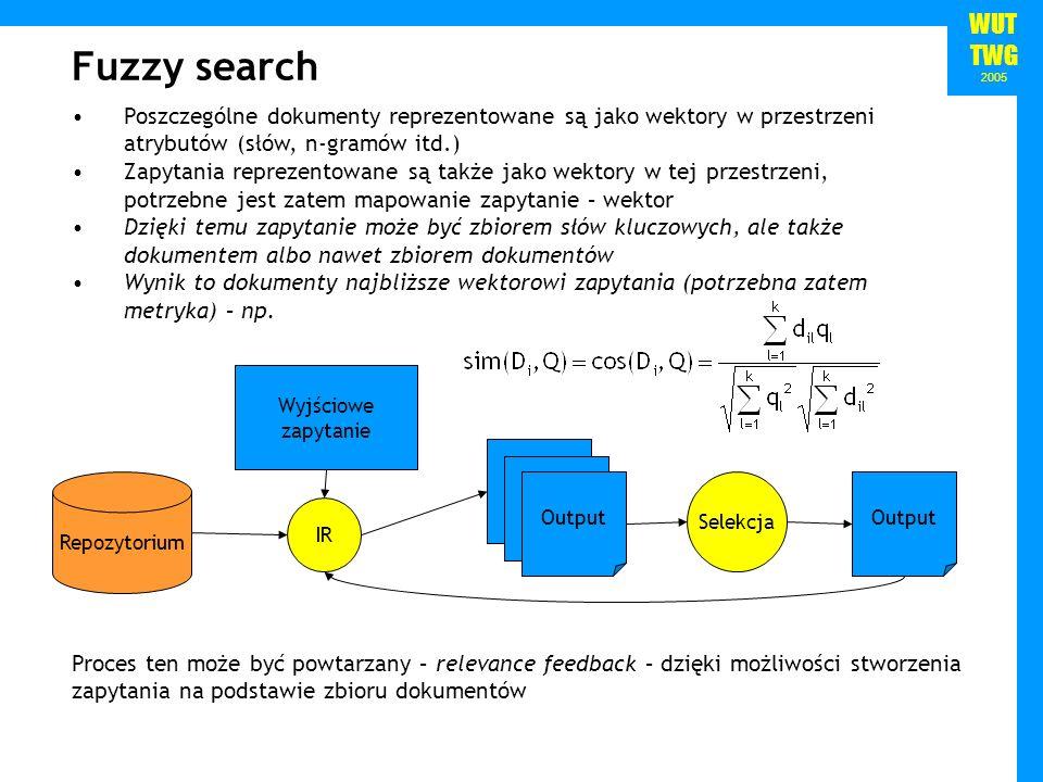 WUT TWG 2005 Fuzzy search Poszczególne dokumenty reprezentowane są jako wektory w przestrzeni atrybutów (słów, n-gramów itd.) Zapytania reprezentowane są także jako wektory w tej przestrzeni, potrzebne jest zatem mapowanie zapytanie – wektor Dzięki temu zapytanie może być zbiorem słów kluczowych, ale także dokumentem albo nawet zbiorem dokumentów Wynik to dokumenty najbliższe wektorowi zapytania (potrzebna zatem metryka) – np.