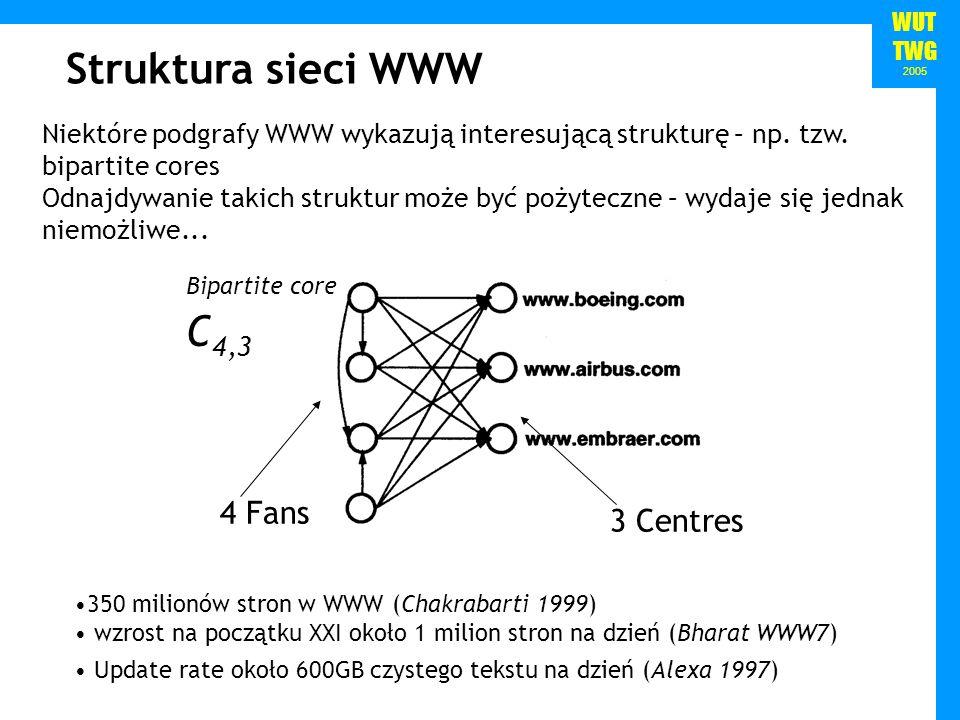 WUT TWG 2005 Cooperative community Competitive community Focused Crawler (Chakrabarti, van den Berg, Dom99) wykorzystuje hierarchię klasyfikacji (z przykładowymi dokumentami) oznaczonymi jako istotne dla danego wyszukiwania wykorzystuje klasyfikator Bayesowski z modelem dokumentu bag-of-words do klasyfikacji aktualnie analizowanej strony poszczególne analizowane strony mogą odbiegać od tematu przez pewną liczbę skoków – liczba ta zależy od zgodności ostatniej dobrej strony z zapytaniem HITS używany do okresowego czyszczenia zebranych stron Focused crawling cont.