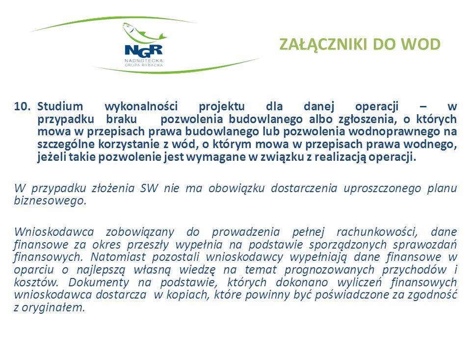 ZAŁĄCZNIKI DO WOD 10.Studium wykonalności projektu c.d.
