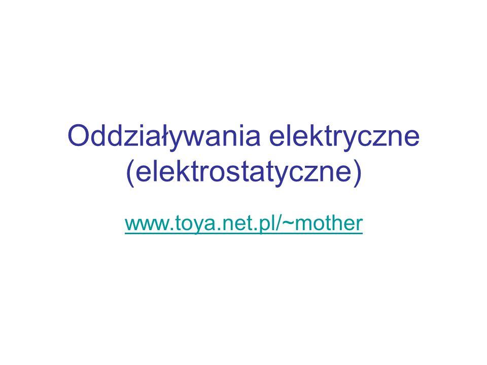Oddziaływania elektryczne (elektrostatyczne) www.toya.net.pl/~mother