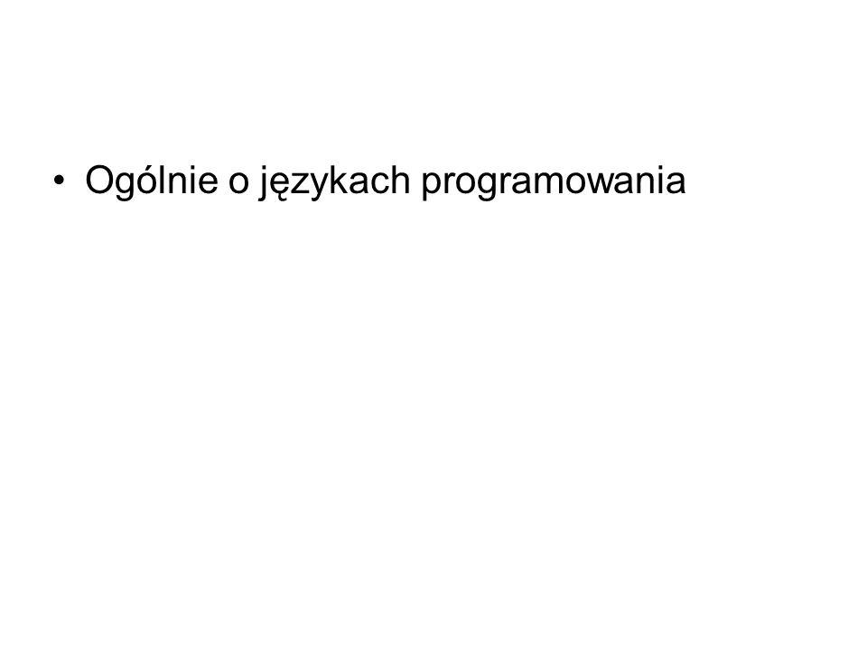 Ogólnie o językach programowania