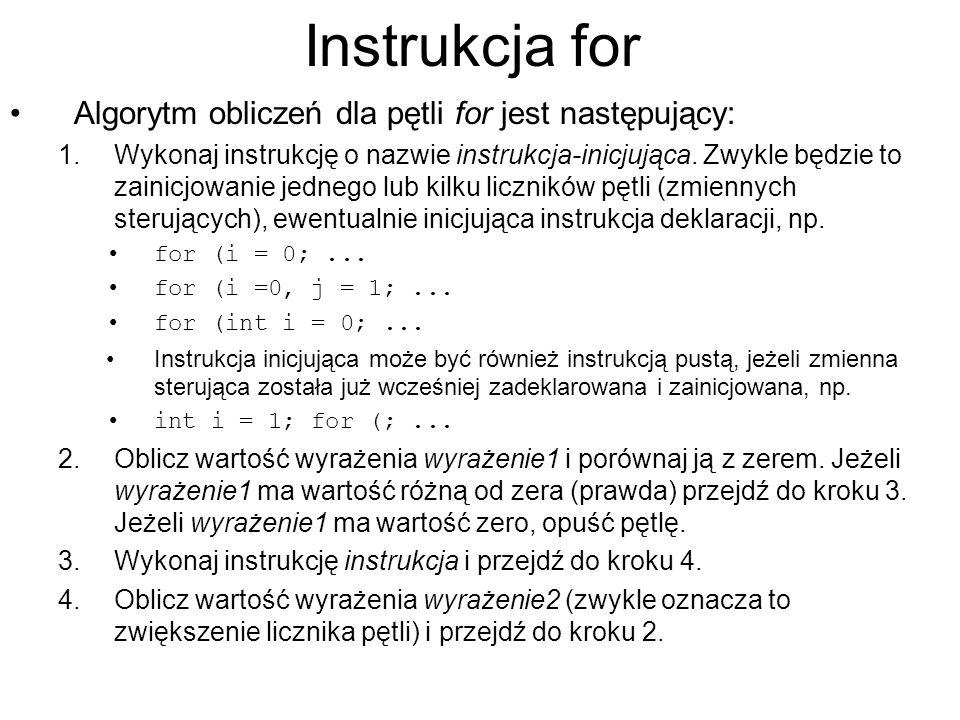 Instrukcja for Algorytm obliczeń dla pętli for jest następujący: 1.Wykonaj instrukcję o nazwie instrukcja-inicjująca. Zwykle będzie to zainicjowanie j