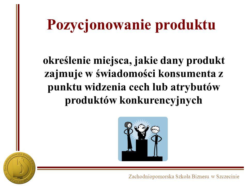 Zachodniopomorska Szkoła Biznesu w Szczecinie Pozycjonowanie produktu określenie miejsca, jakie dany produkt zajmuje w świadomości konsumenta z punktu