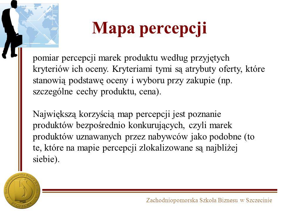 Zachodniopomorska Szkoła Biznesu w Szczecinie Mapa percepcji pomiar percepcji marek produktu według przyjętych kryteriów ich oceny. Kryteriami tymi są