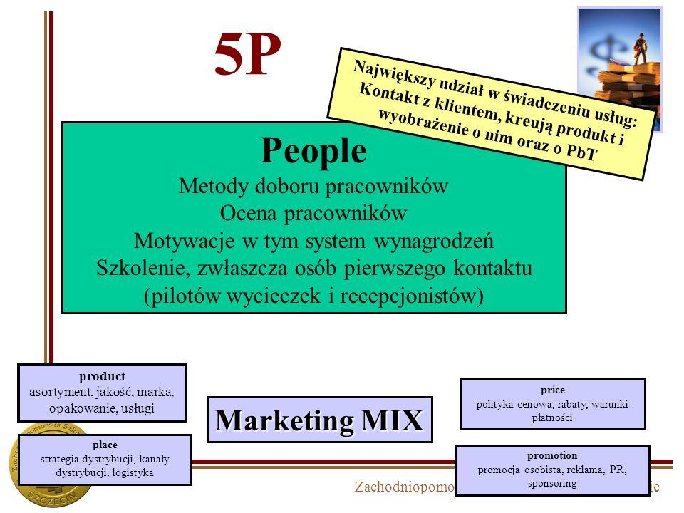 Zachodniopomorska Szkoła Biznesu w Szczecinie 5P Marketing MIX product asortyment, jakość, marka, opakowanie, usługi price polityka cenowa, rabaty, wa