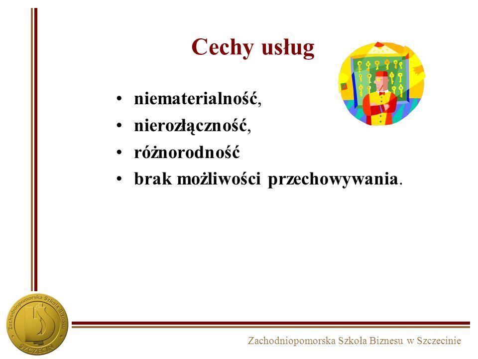 Zachodniopomorska Szkoła Biznesu w Szczecinie Cechy usług niematerialność, nierozłączność, różnorodność brak możliwości przechowywania.