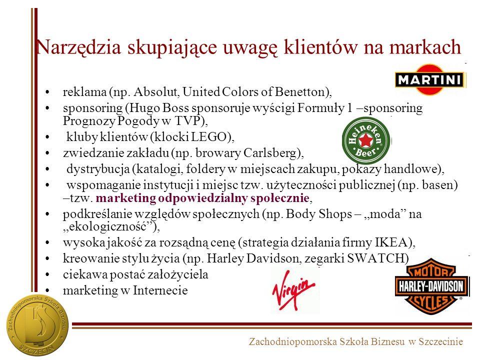 Zachodniopomorska Szkoła Biznesu w Szczecinie Narzędzia skupiające uwagę klientów na markach reklama (np. Absolut, United Colors of Benetton), sponsor