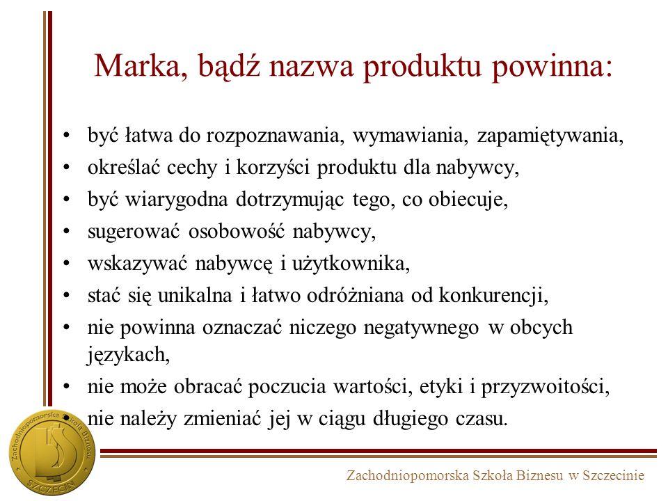 Zachodniopomorska Szkoła Biznesu w Szczecinie Marka, bądź nazwa produktu powinna: być łatwa do rozpoznawania, wymawiania, zapamiętywania, określać cec