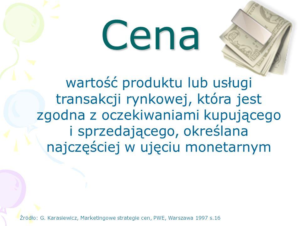 Cena wartość produktu lub usługi transakcji rynkowej, która jest zgodna z oczekiwaniami kupującego i sprzedającego, określana najczęściej w ujęciu mon