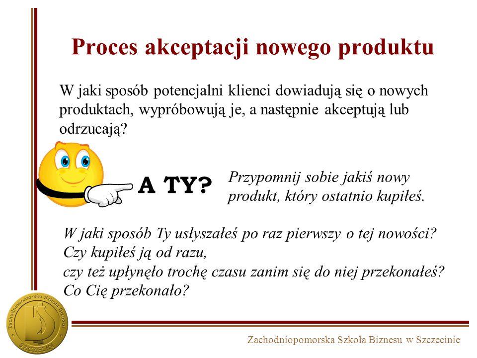 Zachodniopomorska Szkoła Biznesu w Szczecinie Proces akceptacji nowego produktu W jaki sposób Ty usłyszałeś po raz pierwszy o tej nowości? Czy kupiłeś