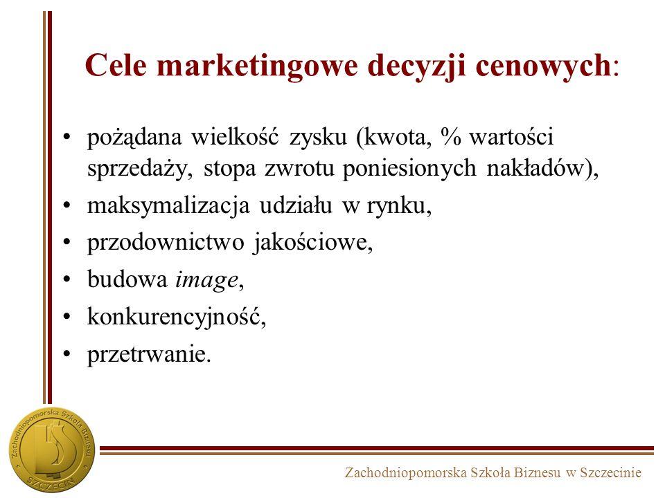 Zachodniopomorska Szkoła Biznesu w Szczecinie Cele marketingowe decyzji cenowych: pożądana wielkość zysku (kwota, % wartości sprzedaży, stopa zwrotu p