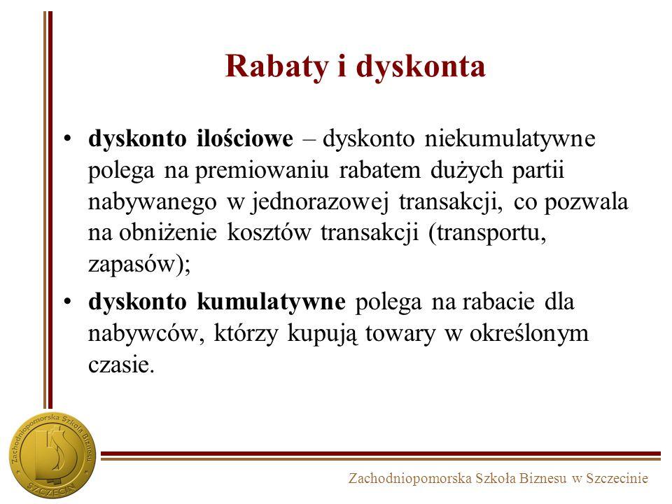 Zachodniopomorska Szkoła Biznesu w Szczecinie Rabaty i dyskonta dyskonto ilościowe – dyskonto niekumulatywne polega na premiowaniu rabatem dużych part