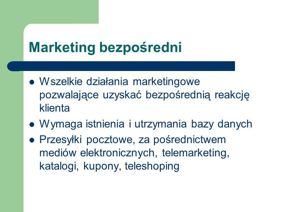 Marketing bezpośredni Wszelkie działania marketingowe pozwalające uzyskać bezpośrednią reakcję klienta Wymaga istnienia i utrzymania bazy danych Przes