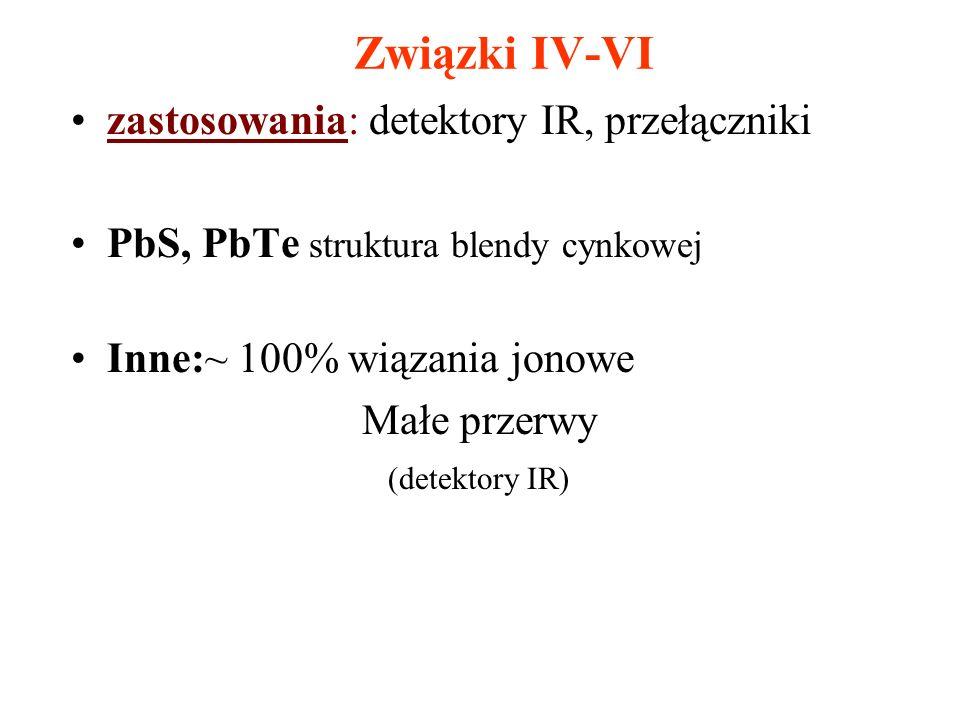 zastosowania: detektory IR, przełączniki PbS, PbTe struktura blendy cynkowej Inne:~ 100% wiązania jonowe Małe przerwy (detektory IR)