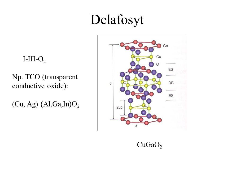 Delafosyt I-III-O 2 Np. TCO (transparent conductive oxide): (Cu, Ag) (Al,Ga,In)O 2 CuGaO 2
