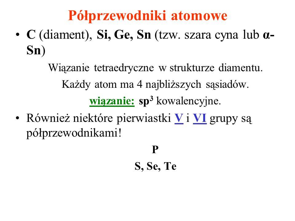 Półprzewodniki atomowe C (diament), Si, Ge, Sn (tzw. szara cyna lub α- Sn) Wiązanie tetraedryczne w strukturze diamentu. Każdy atom ma 4 najbliższych