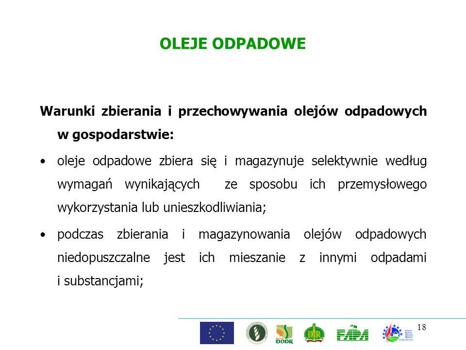 OLEJE ODPADOWE Warunki zbierania i przechowywania olejów odpadowych w gospodarstwie: oleje odpadowe zbiera się i magazynuje selektywnie według wymagań
