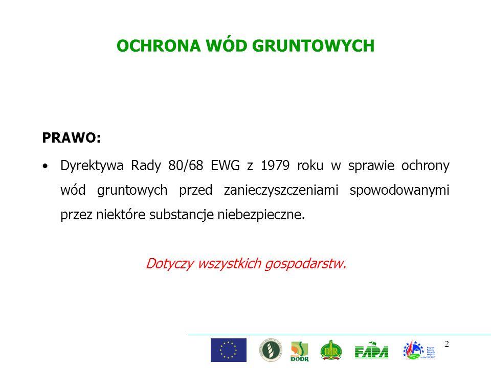 2 OCHRONA WÓD GRUNTOWYCH PRAWO: Dyrektywa Rady 80/68 EWG z 1979 roku w sprawie ochrony wód gruntowych przed zanieczyszczeniami spowodowanymi przez nie