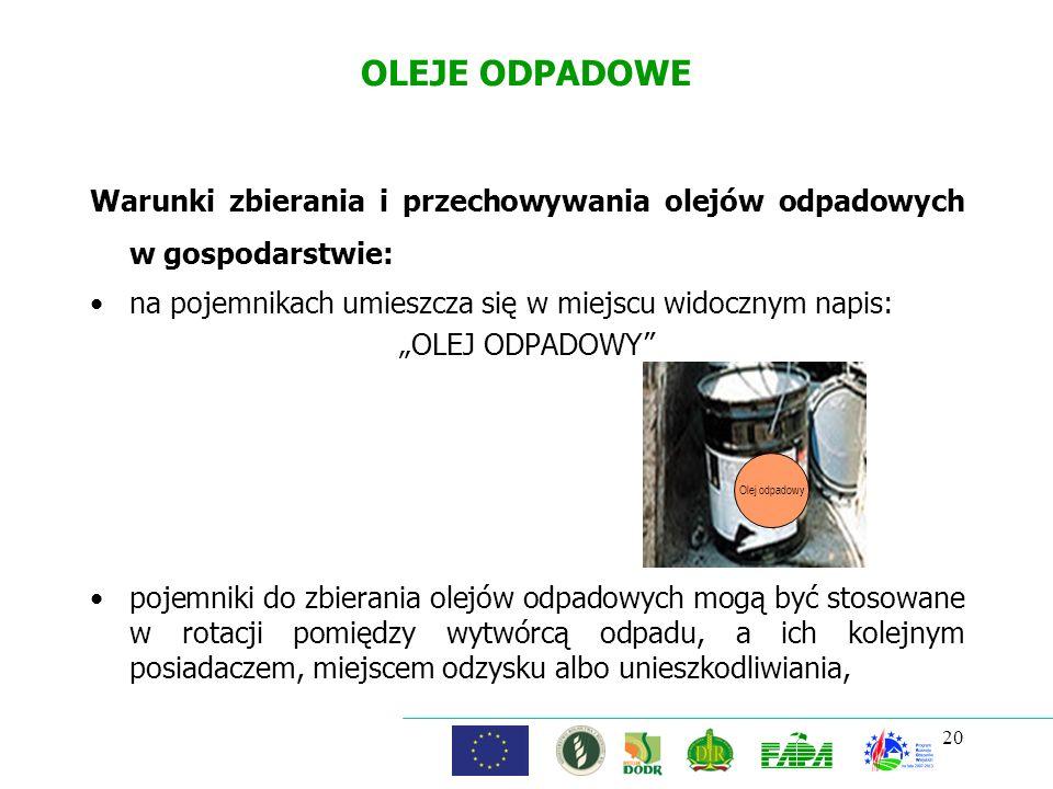 OLEJE ODPADOWE Warunki zbierania i przechowywania olejów odpadowych w gospodarstwie: na pojemnikach umieszcza się w miejscu widocznym napis: OLEJ ODPA