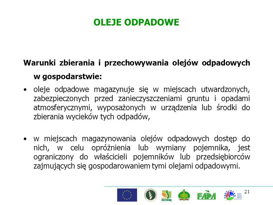 OLEJE ODPADOWE Warunki zbierania i przechowywania olejów odpadowych w gospodarstwie: oleje odpadowe magazynuje się w miejscach utwardzonych, zabezpiec