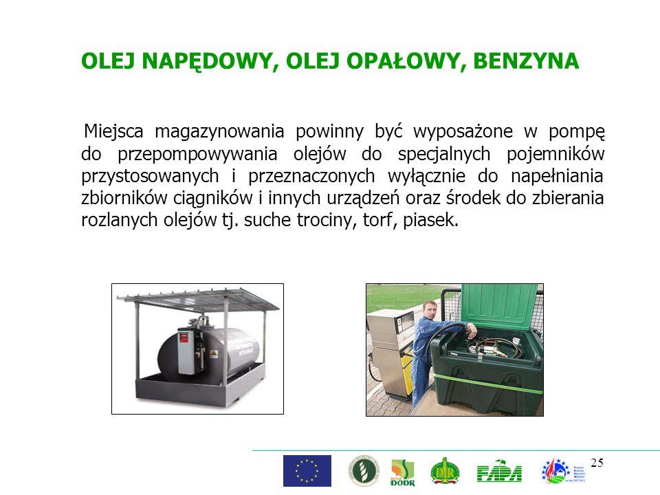 OLEJ NAPĘDOWY, OLEJ OPAŁOWY, BENZYNA Miejsca magazynowania powinny być wyposażone w pompę do przepompowywania olejów do specjalnych pojemników przysto