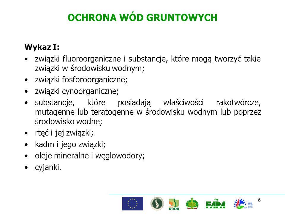 6 OCHRONA WÓD GRUNTOWYCH Wykaz I: związki fluoroorganiczne i substancje, które mogą tworzyć takie związki w środowisku wodnym; związki fosforoorganicz