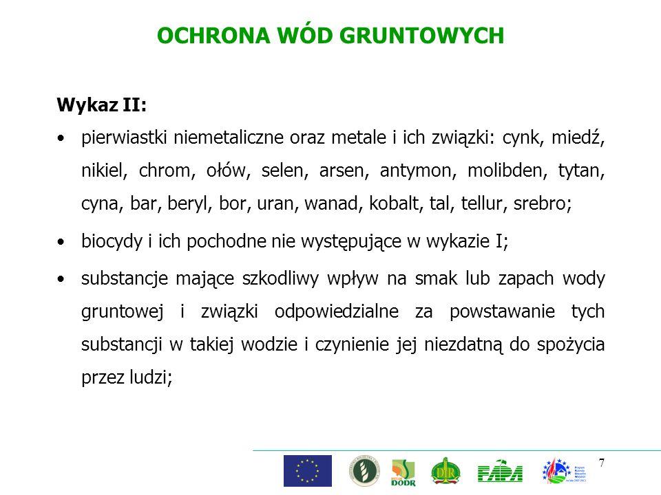 7 OCHRONA WÓD GRUNTOWYCH Wykaz II: pierwiastki niemetaliczne oraz metale i ich związki: cynk, miedź, nikiel, chrom, ołów, selen, arsen, antymon, molib