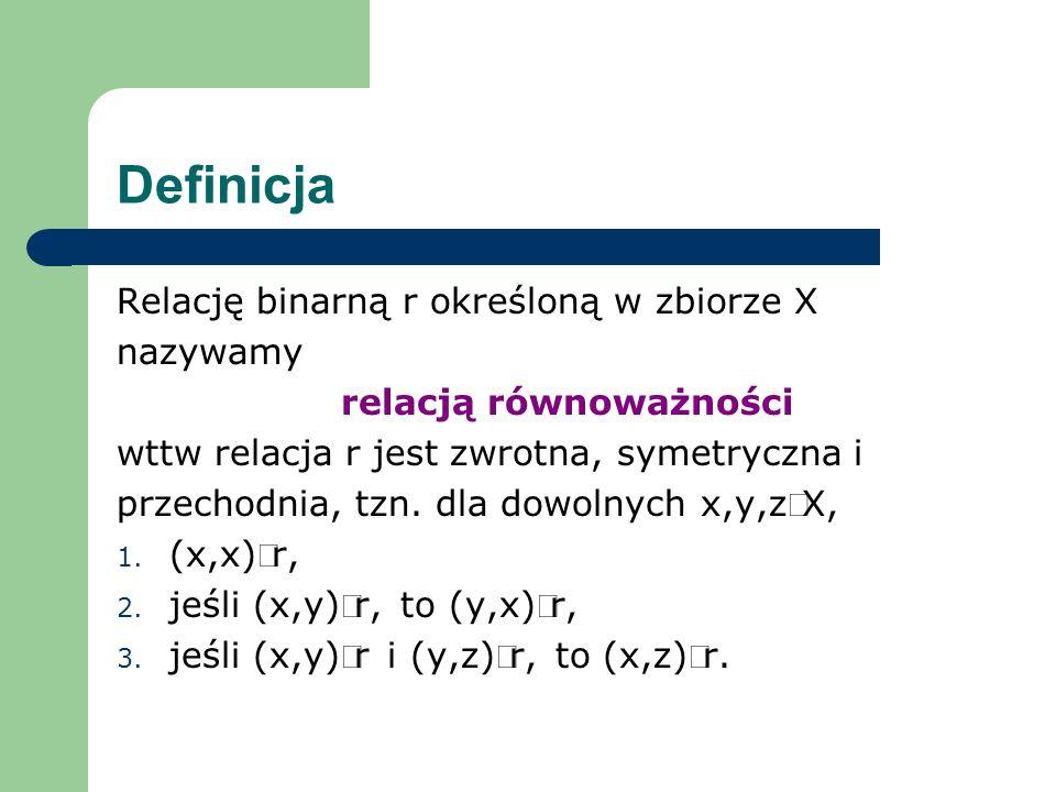Definicja Relację binarną r określoną w zbiorze X nazywamy relacją równoważności wttw relacja r jest zwrotna, symetryczna i przechodnia, tzn. dla dowo