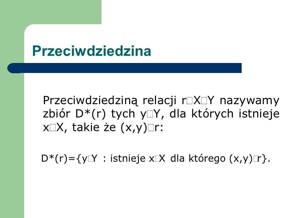 Przeciwdziedzina Przeciwdziedziną relacji rXY nazywamy zbiór D*(r) tych yY, dla których istnieje xX, takie że (x,y)r: D*(r)={yY : istnieje xX dla któr