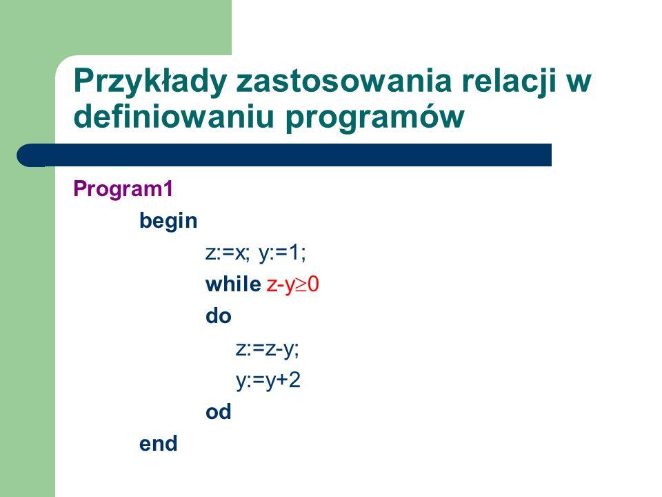 Przykłady zastosowania relacji w definiowaniu programów Program1 begin z:=x; y:=1; while z-y 0 do z:=z-y; y:=y+2 od end