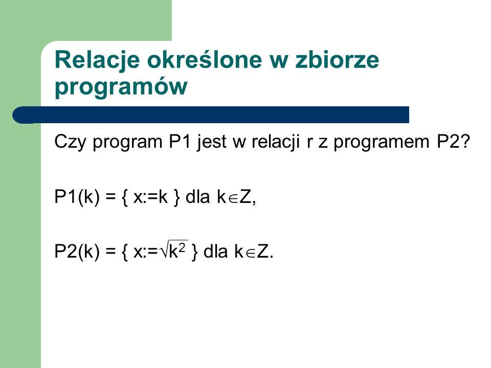 Relacje określone w zbiorze programów Czy program P1 jest w relacji r z programem P2? P1(k) = { x:=k } dla k Z, P2(k) = { x:= k 2 } dla k Z.