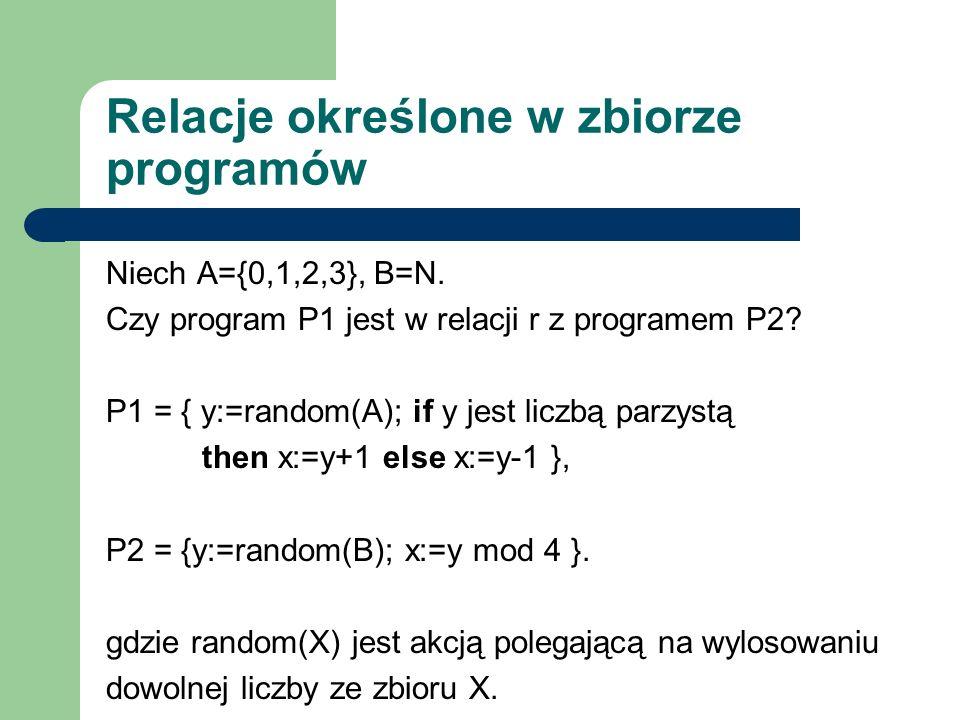 Relacje określone w zbiorze programów Niech A={0,1,2,3}, B=N. Czy program P1 jest w relacji r z programem P2? P1 = { y:=random(A); if y jest liczbą pa