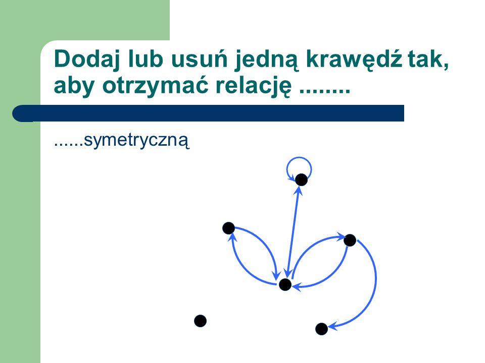 Dodaj lub usuń jedną krawędź tak, aby otrzymać relację..............symetryczną