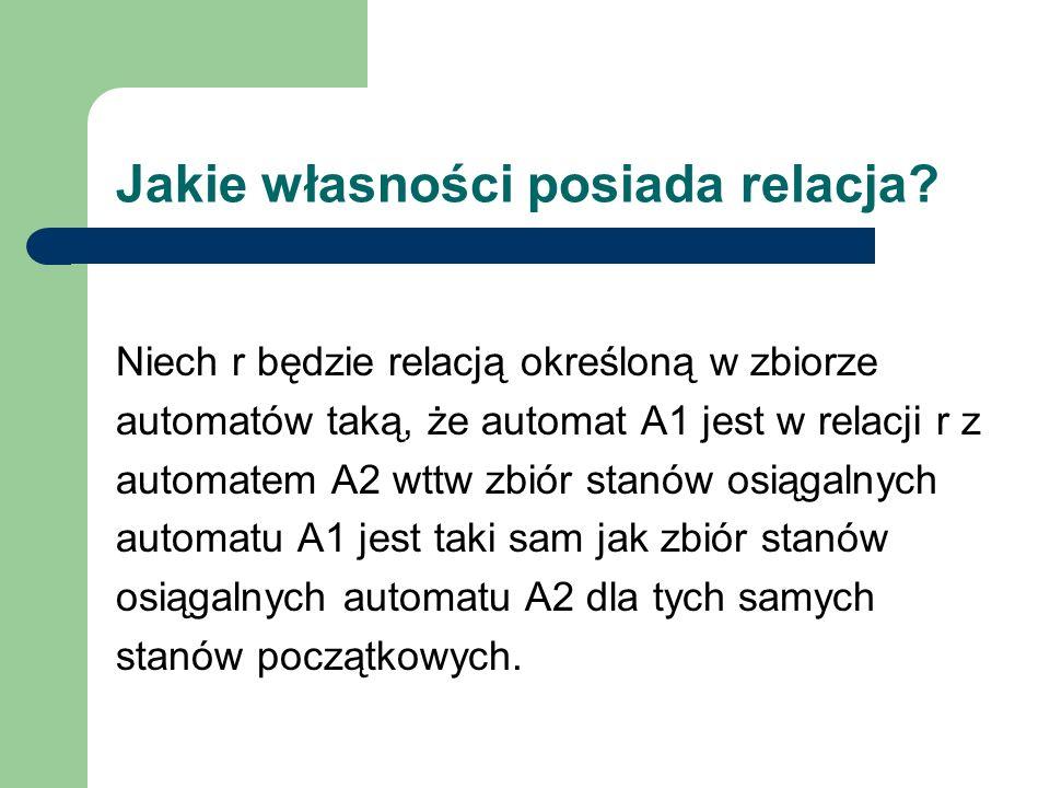 Jakie własności posiada relacja? Niech r będzie relacją określoną w zbiorze automatów taką, że automat A1 jest w relacji r z automatem A2 wttw zbiór s