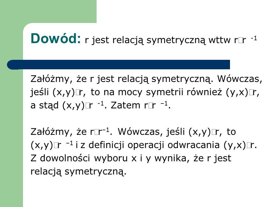 Dowód: r jest relacją symetryczną wttw rr -1 Załóżmy, że r jest relacją symetryczną. Wówczas, jeśli (x,y)r, to na mocy symetrii również (y,x)r, a stąd