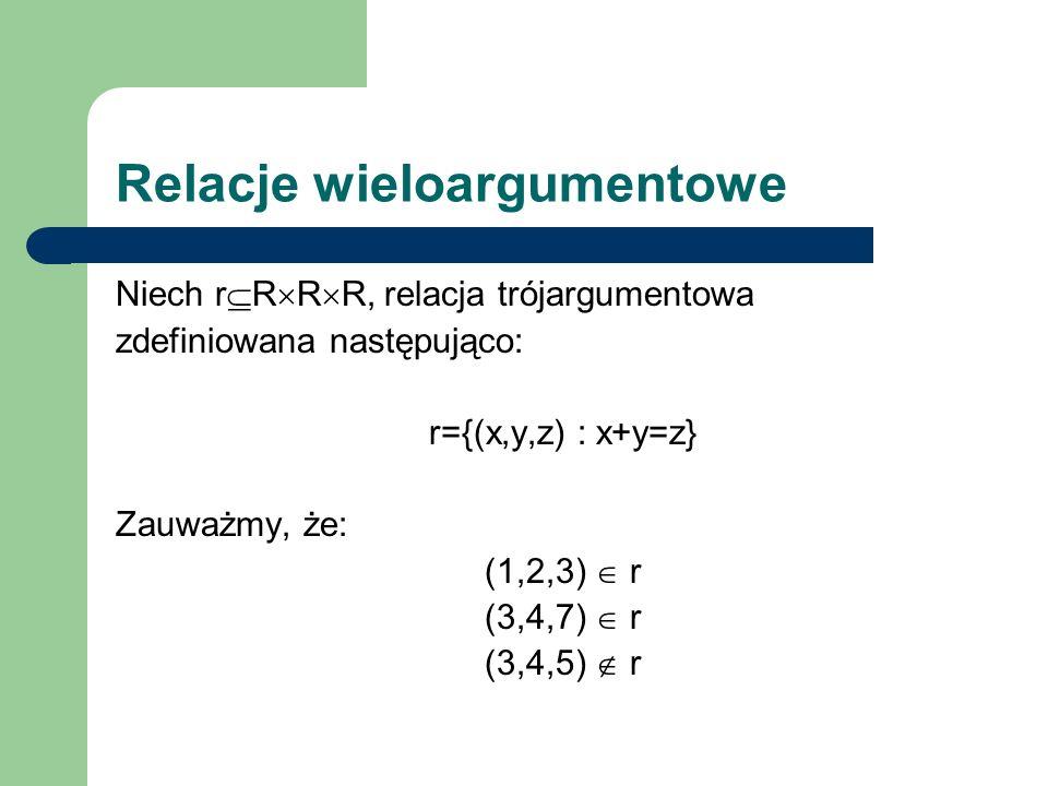 Relacje wieloargumentowe Niech r R R R, relacja trójargumentowa zdefiniowana następująco: r={(x,y,z) : x+y=z} Zauważmy, że: (1,2,3) r (3,4,7) r (3,4,5