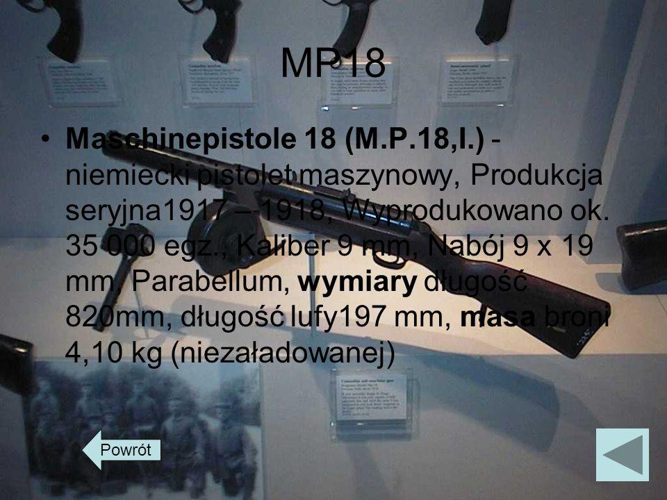 MP18 Maschinepistole 18 (M.P.18,I.) - niemiecki pistolet maszynowy, Produkcja seryjna1917 – 1918, Wyprodukowano ok. 35 000 egz., Kaliber 9 mm, Nabój 9