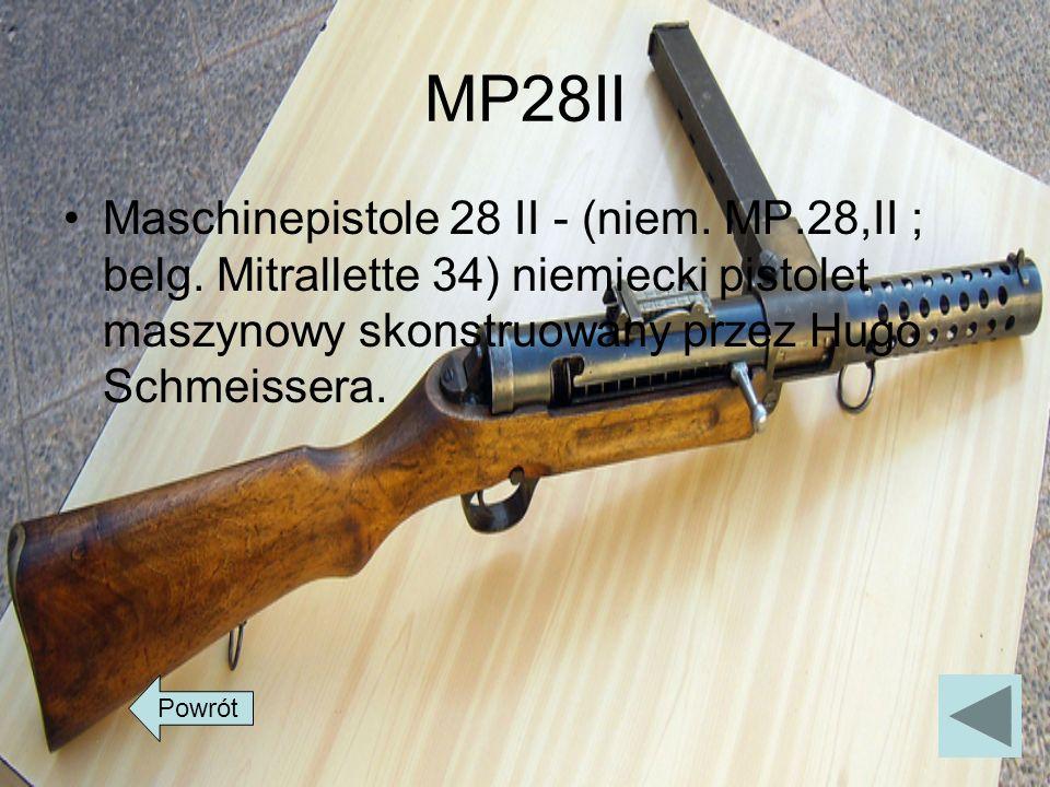 MP28II Maschinepistole 28 II - (niem. MP.28,II ; belg. Mitrallette 34) niemiecki pistolet maszynowy skonstruowany przez Hugo Schmeissera. Powrót