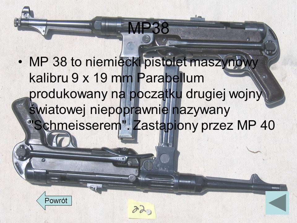 MP38 MP 38 to niemiecki pistolet maszynowy kalibru 9 x 19 mm Parabellum produkowany na początku drugiej wojny światowej niepoprawnie nazywany