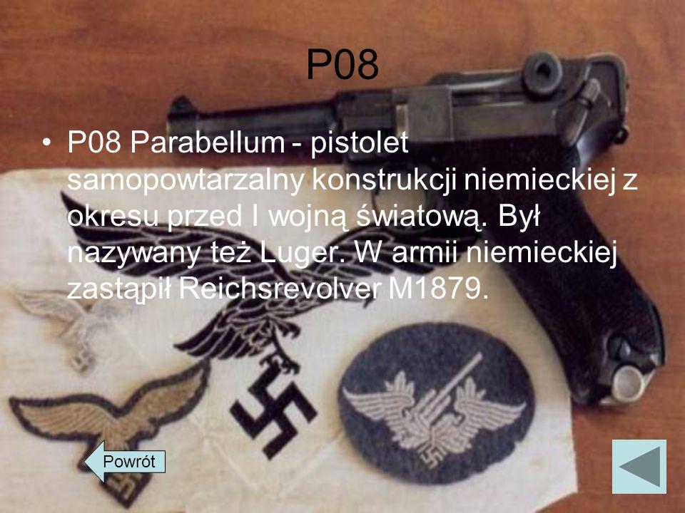 P08 P08 Parabellum - pistolet samopowtarzalny konstrukcji niemieckiej z okresu przed I wojną światową. Był nazywany też Luger. W armii niemieckiej zas