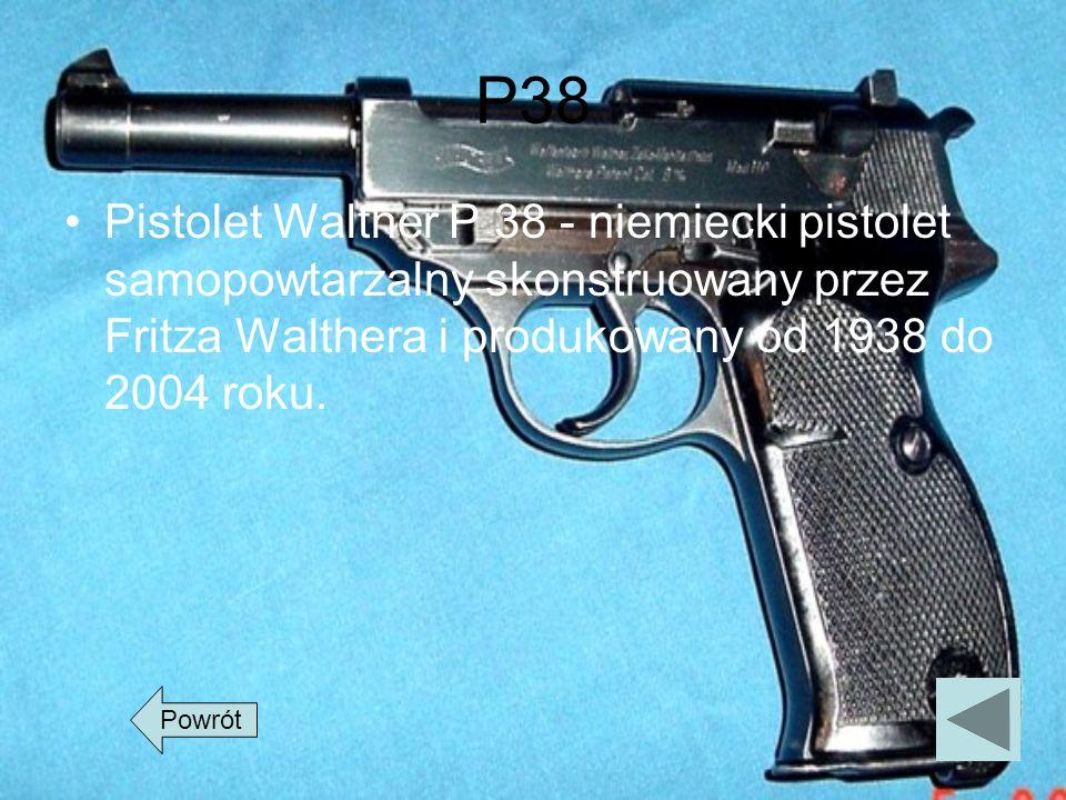 P38 Pistolet Walther P 38 - niemiecki pistolet samopowtarzalny skonstruowany przez Fritza Walthera i produkowany od 1938 do 2004 roku. Powrót