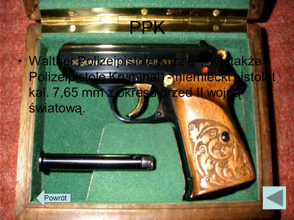 PPK Walther Polizeipistole Kurz (PPK) (także Polizeipistole Kryminal) - niemiecki pistolet kal. 7,65 mm z okresu przed II wojną światową. Powrót