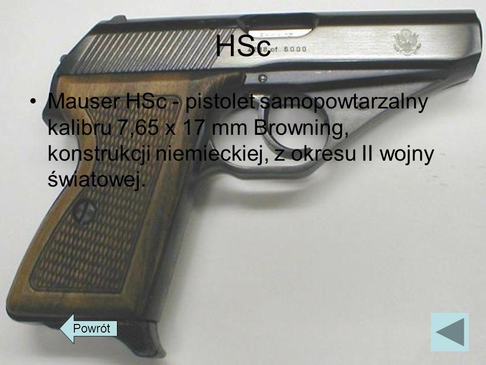 HSc Mauser HSc - pistolet samopowtarzalny kalibru 7,65 x 17 mm Browning, konstrukcji niemieckiej, z okresu II wojny światowej. Powrót
