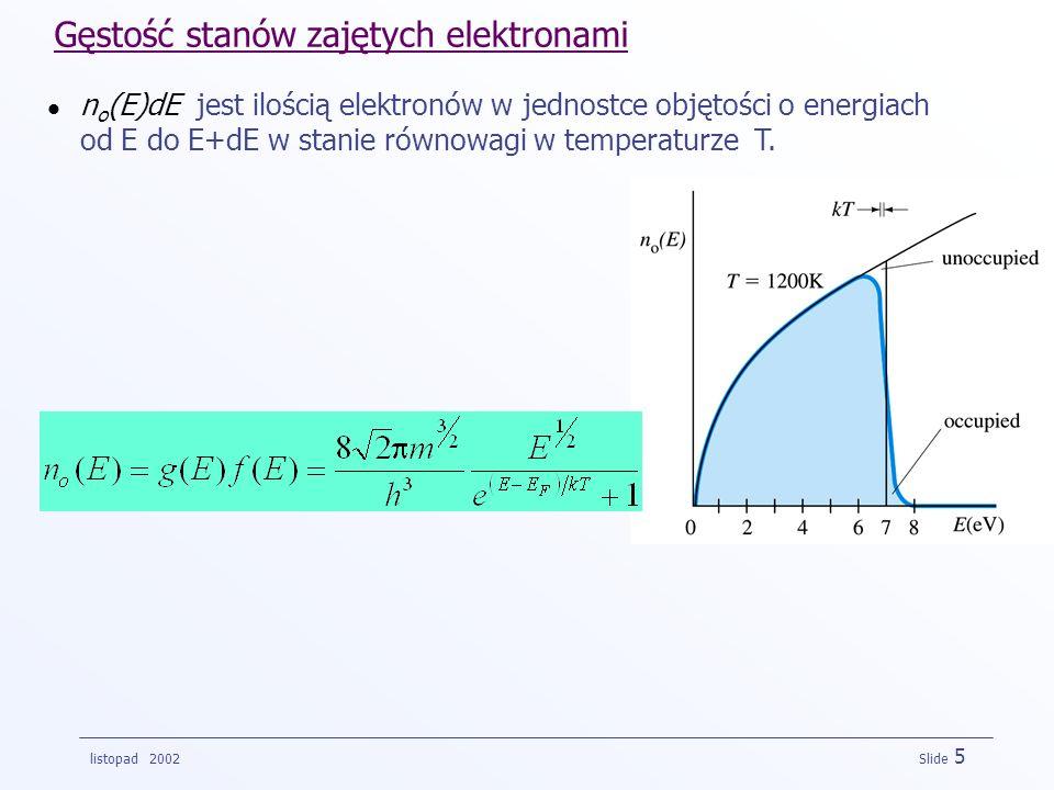 listopad 2002 Slide 5 Gęstość stanów zajętych elektronami n o (E)dE jest ilością elektronów w jednostce objętości o energiach od E do E+dE w stanie ró