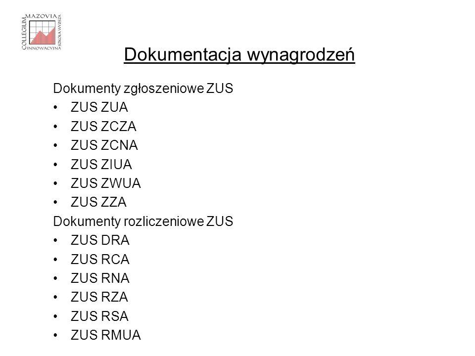 Dokumenty zgłoszeniowe ZUS ZUS ZUA ZUS ZCZA ZUS ZCNA ZUS ZIUA ZUS ZWUA ZUS ZZA Dokumenty rozliczeniowe ZUS ZUS DRA ZUS RCA ZUS RNA ZUS RZA ZUS RSA ZUS
