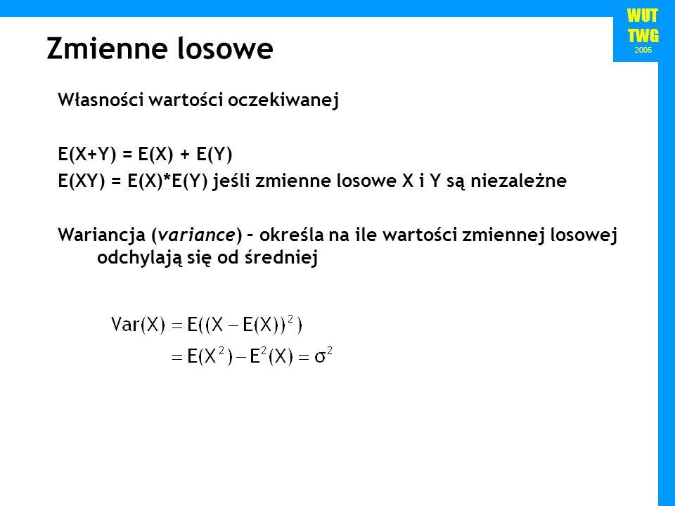 WUT TWG 2005 Zmienne losowe Własności wartości oczekiwanej E(X+Y) = E(X) + E(Y) E(XY) = E(X)*E(Y) jeśli zmienne losowe X i Y są niezależne Wariancja (