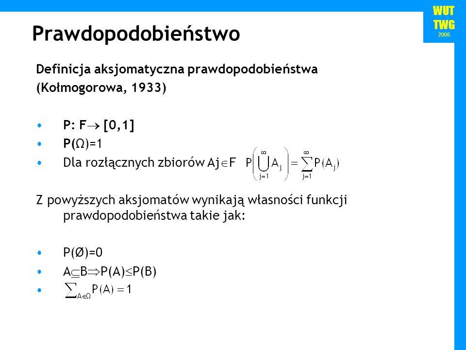 WUT TWG 2005 Prawdopodobieństwo Definicja aksjomatyczna prawdopodobieństwa (Kołmogorowa, 1933) P: F [0,1] P(Ω)=1 Dla rozłącznych zbiorów Aj F Z powyżs