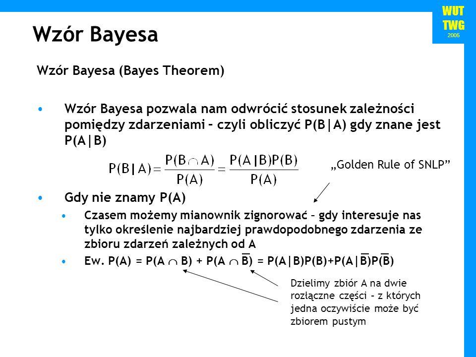 WUT TWG 2005 Wzór Bayesa Wzór Bayesa (Bayes Theorem) Wzór Bayesa pozwala nam odwrócić stosunek zależności pomiędzy zdarzeniami – czyli obliczyć P(B|A)