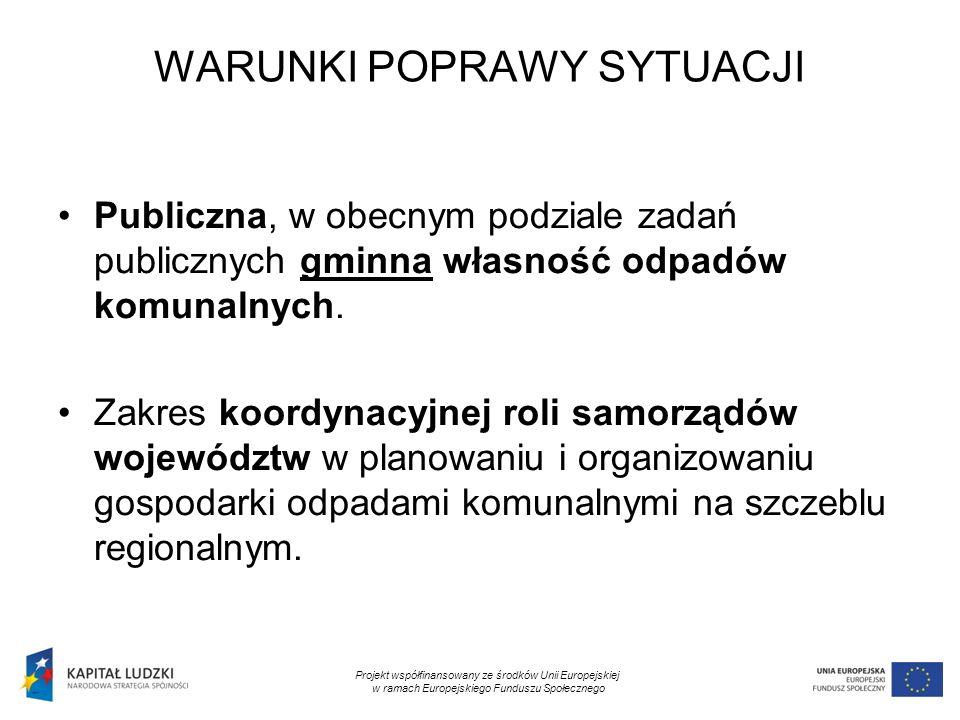 10 WARUNKI POPRAWY SYTUACJI Publiczna, w obecnym podziale zadań publicznych gminna własność odpadów komunalnych.