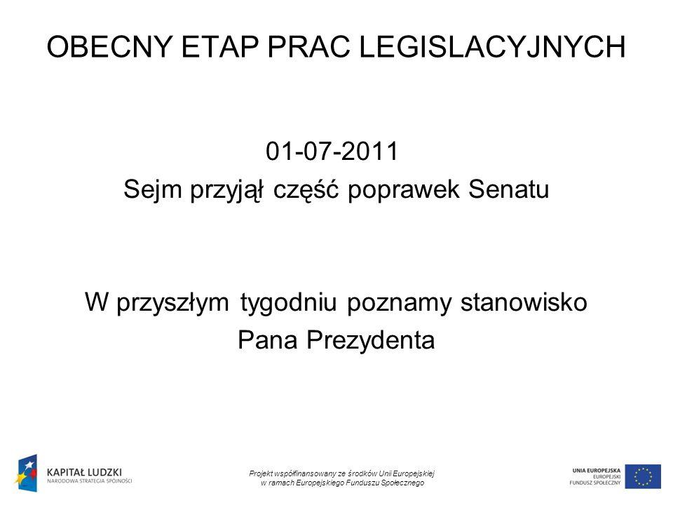 11 OBECNY ETAP PRAC LEGISLACYJNYCH 01-07-2011 Sejm przyjął część poprawek Senatu W przyszłym tygodniu poznamy stanowisko Pana Prezydenta Projekt współfinansowany ze środków Unii Europejskiej w ramach Europejskiego Funduszu Społecznego